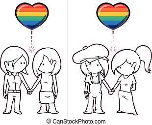 Girls Want Girls - Iconic illustration of two female couples...