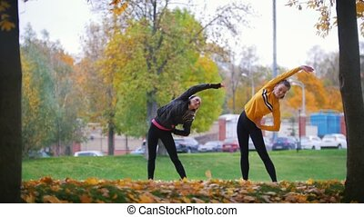 Girls warming up and doing gymnastics in the park. Autumn.