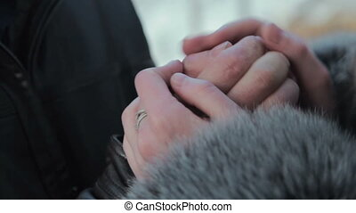 Girls warms hands boyfriend
