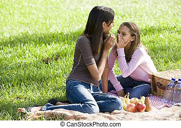 Girls whispering on picnic blanket on grass in park - Ten...