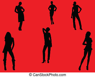 girls with background - vector