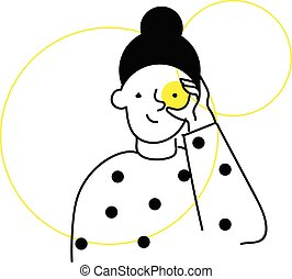 Girls with dots, vector or color illustration.
