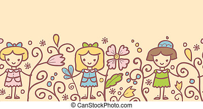Girls with flowers horizontal seamless pattern background