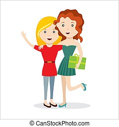 Girls with gift happy jump friends vector