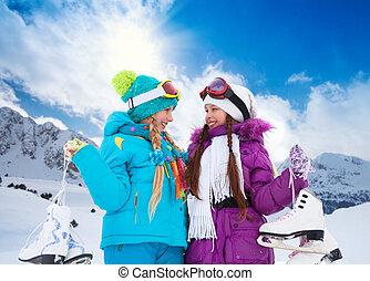 Girls with ice-skates