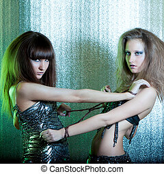 Girls with metal fetters - Beautiful girls with metal...