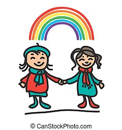 girls with rainbow