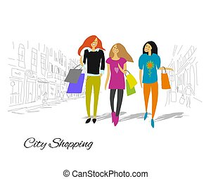 Girls with shopping bags in the city