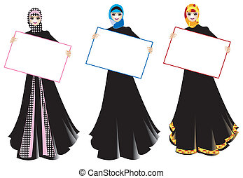 girls with signs - a group of muslim women holding posters