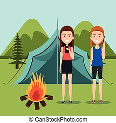 Camping In Summer With Animal Frien A Day Camping Scene