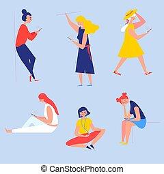 Girls with smartphones. Reading, listening music
