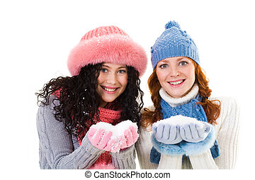 Girls with snow