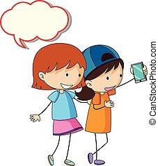 Girls with speech balloon illustration