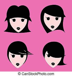 Girls with various hair style