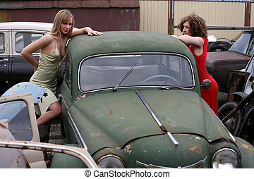 girls with vintage car