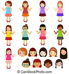 Girls, Woman, Kids (Female Set) - A Theme of cute vector...