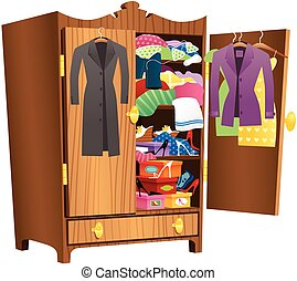 Girls wooden wardrobe - An illustration of a large wooden ...