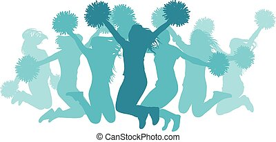 girls(cheerleaders), illustration., isolated., silhuett, hoppning, vektor