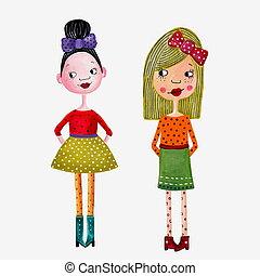Girls.Handmade illustration