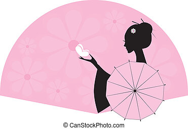 girl/woman - girl, woman with an umbrella and butterfly