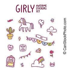 Girly awesome sticker set
