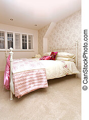 Girly bed - Retro bedroom interior with large girly bed