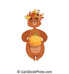 Girly Cartoon Brown Bear Character Holding Pumpkin And...