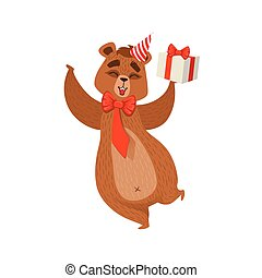 Girly Cartoon Brown Bear Character Wearing Party Hat And Bow On The Neck Holding A Gift Illustration