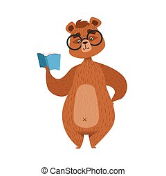 Girly Cartoon Brown Bear Character In Glasses Reading The Book Illustration