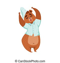 Girly Cartoon Brown Bear Character In Pyjamas Stretching And Yawning Illustration