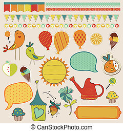 Girly design elements for scrapbooking