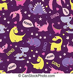 Girly Dinosaurs Roaring Seamless Pattern. Blue...