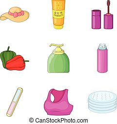 Girly icons set, cartoon style