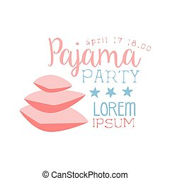 girly pajama party invitation card template with two pillows