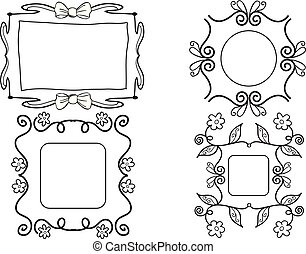 Girly picture frames - Hand drawn girly black and white...