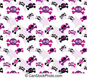Girly skull pattern - Seamless repeating girly skull and...