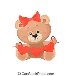 Girly teddy bear with red bow on head holding Valentine s heart garland. Flat vector for greeting postcard or baby shower poster