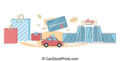 giro, concetto, shopping