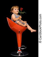 giro, sentando, pequeno, este prego, menina, cadeira, vermelho