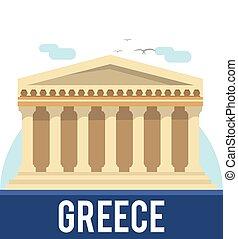 giro, viaggiare, illustrazione, grecia