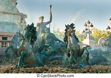 girondins, monumento, e, fontana, bordeaux, francia
