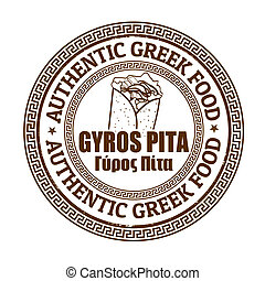 Giros pita stamp - Giros pita grunge rubber stamp on white,...