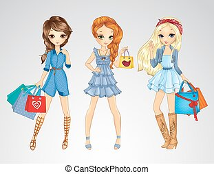 Girs In Jeens Clothes Do Shopping - Vector illustration of...