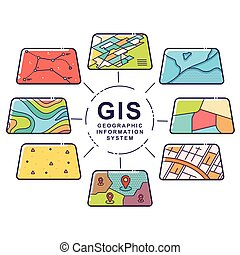 GIS Concept Data Layers for Infographic - Vector ...