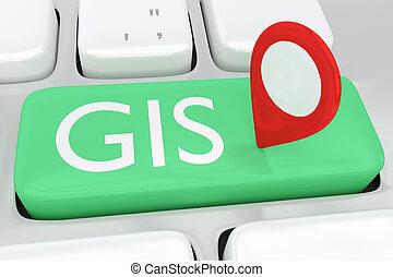 gis, concept, -, géographique