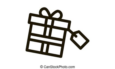 Gist Box Label Icon Animation. black Gist Box Label animated icon on white background