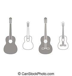 gitár, állhatatos, szürke, ikon