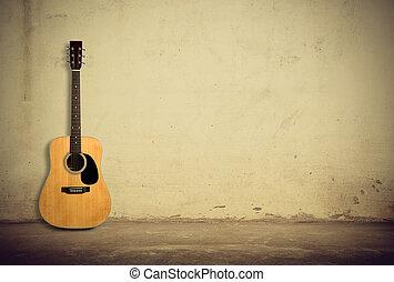 gitár, akusztikai, öreg, ellen, fal