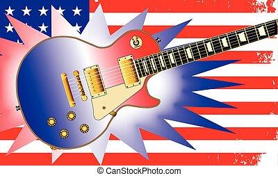 gitár, american lobogó