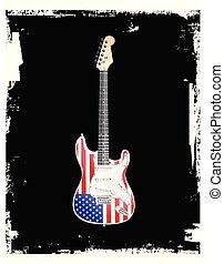 gitár, amerikai, tekercs, kő